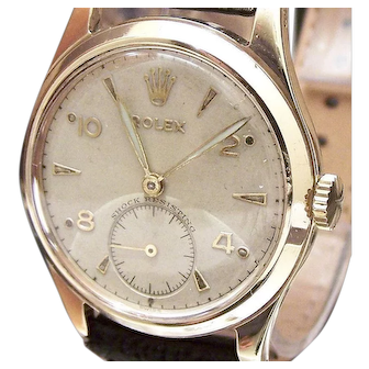 1952 Vintage Solid 9 CARAT Gold Genuine ROLEX Mid Size Mans Wristwatch Serviced