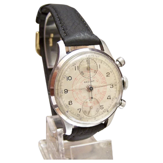 Vintage Gallet 2 Register UP / DOWN Chronograph Wrist watch Circa 45-47 serviced Calibre Venus 170