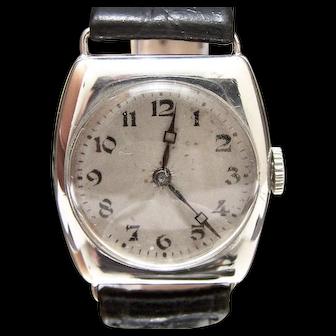 A RARE 1920 Genuine Signed MID SIZE Man's Tonneau Rolex  Solid 925 SILVER Wristwatch