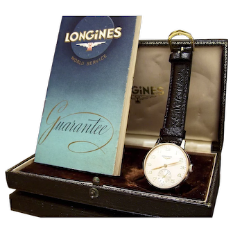 Vintage Longines MINTY 1959 solid 9CT gold watch with original box & paperwork SERVICED