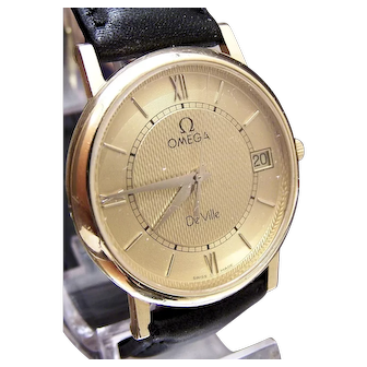 Vintage c1990's SOLID 18K GOLD Omega wrist watch beautiful condition & running.