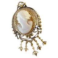 Lovely Antique 14k Left Facing Cameo Pendant / Brooch