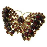 Vintage Garnet Butterfly Pendant Brooch