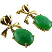 Lovely Jadeite Jade 14k Earrings