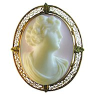 Cameo Pendant Brooch Natural Angelskin Shell 10k Rose Gold