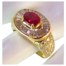 Magnificent 3.13 TCW Natural Ruby VS Diamond 18k Ring