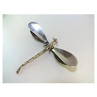 Lovely Large Sterling Dragonfly Brooch