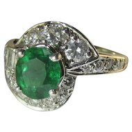Mesmerizing Emerald Diamond 14k Ring - Circa 1950's