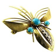 Turquoise 14k Brooch