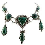 Terrific Large Antique Malachite Sterling Necklace