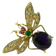 High Quality Diamond Amethyst Emerald Ruby 14k Bug Brooch