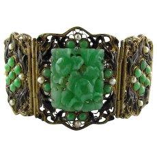 Magnificent Large Jadeite Enamel Sterling Deco Bracelet