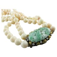Amazing Angel Skin Coral Jadeite Diamond 14k Gold Necklace