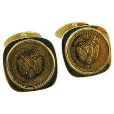 Dos Pesos Coin Gold Cuff Links