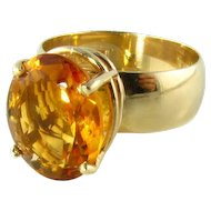 Fine Large Natural Orange Citrine 14k Ring