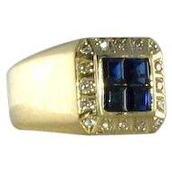 Men's Sapphire Diamond 14k Ring