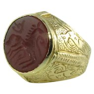 Men's Carnelian Intaglio 18k Ring