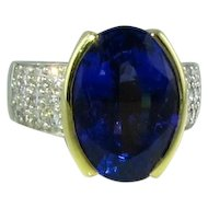 Fabulous Tanzanite Diamond Platinum 18k Ring