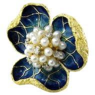 Awesome 1960's 18k Enamel Pearl Diamond Flower Brooch