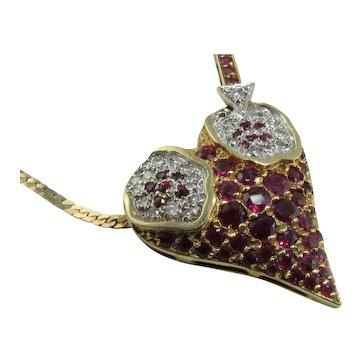 Lovely Erte L'Amour Ruby Diamond 14k Necklace