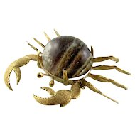 Lovely 14k Quartz Crab Brooch