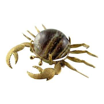 Lovely 14k Quartz Crab Brooch