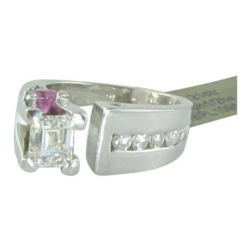 GIA VVS2 J 1.21 Ct Ctr with other Diamonds Pink Sapphire 14k Ring - Fabulous