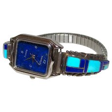 Vintage Native American Zuni Sterling Silver Turquoise Lapis Inlay Lady's Watch Band with Watch Mosaic Inlay Design - Red Tag Sale Item