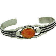 Navajo Sand Cast Sterling Silver Orange Spiny Oyster Cuff Bracelet Native American Signed Bracelet