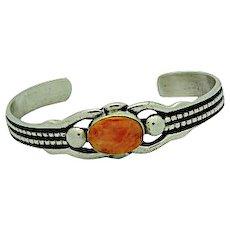 Navajo Sand Cast Sterling Silver Orange Spiny Oyster Cuff Bracelet Native American Signed Bracelet