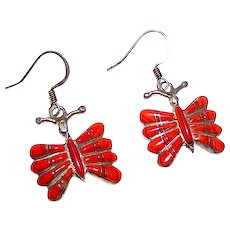 Vintage Zuni Sterling Silver Orange Spiny Oyster Inlay Dangle Butterfly Earrings