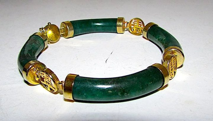 bangle faceted bracelet exquisite jade gemstone beads green vintage itm stretch