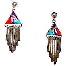 Vintage Navajo Sterling Silver Turquoise Coral Lapis Channel Inlay Pierced Dangle Earrings - Red Tag Sale Item