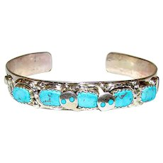 Zuni Sterling Silver Sleeping Beauty Mine Turquoise Snake Cuff Bracelet by Highly Collectible Artist Effie Calavaza