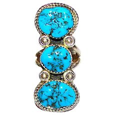 Vintage Navajo Sterling Silver Kingman Turquoise Statement Ring Size 8 Signed