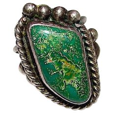 Vintage Old Pawn Native American Navajo Sterling Green Carico Lake Turquoise Statement Ring Size 7