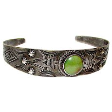 Old Pawn Native American Navajo Sterling Silver Turquoise Fred Harvey Era Cuff Bracelet Hand Etched Design