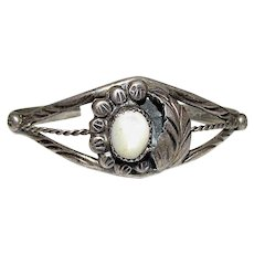 Old Pawn Navajo Sterling Silver Mother-Of-Pearl Squash Blossom Bracelet