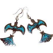 Navajo Charlie Singer Sterling Silver Chip Turquoise Inlay Peyote Bird Thunderbird Pierced Dangle Earrings
