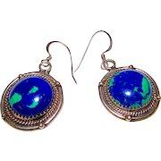 Taxco Mexican Sterling Silver 925 Blue Azurite Pierced Dangle Earrings