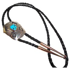 Vintage Navajo Tommy Thomas Singer Sterling Silver Kingman Turquoise Bolo Tie