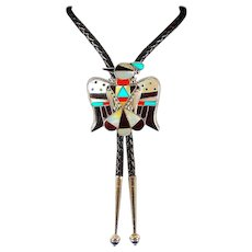 Huge Zuni Thunderbird Bolo Tie Sterling Silver Turquoise Coral Mother of Pearl Inlay by Highly Collectible Bobby and Corrine Shack