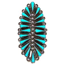 Vintage Old Pawn Native American Zuni Sterling Silver Turquoise Cluster Ring Size 7