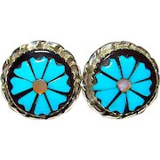 Native American Zuni Sterling Silver Turquoise Mother-Of-Pearl Jet Flower Earrings Zuni Inlay Post Earrings