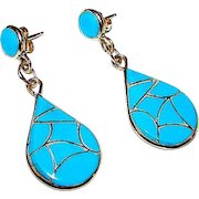 Native American Zuni Sterling Silver Turquoise Inlay Dangle Statement Pierced Earrings by Rodney Laiwakete Fish Scale Design