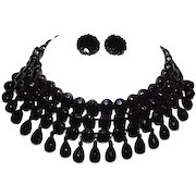 Vintage MIRIAM HASKELL Jet Black Glass Beads Choker Dangle Necklace and Clip On Earrings Set Rare