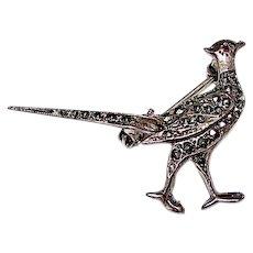 Vintage 925 Sterling Silver Garnet Marcasites Pheasant Pin Figural Brooch