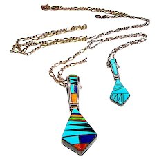 Native American Zuni Sterling Silver Sleeping Beauty Mine Turquoise Coral Lapis Spiny Oyster Reversible Pendant Necklace