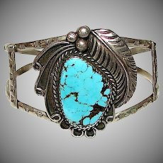 Old Pawn Navajo Sterling Silver Kingman Turquoise Cuff Bracelet Squash Blossom Design
