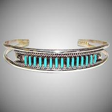 Sterling Silver Sleeping Beauty Mine Turquoise Native American Zuni Cuff Bracelet by Collectible Faron Hattie